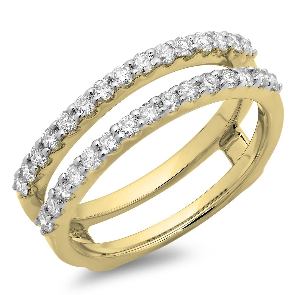 0.50 Carat (ctw) 14K Gold Round Diamond Ladies Anniversary Wedding Band Enhancer Guard Double Ring 1/2 CT