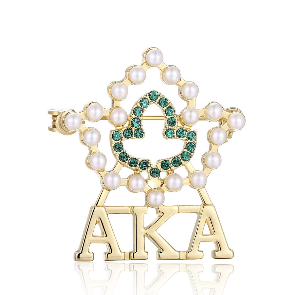 Lanqueen AKA Sorority Gifts, Vintage Crystal Pearl Brooch Gold Alpha Kappa Alpha Paraphernalia Graduation Gifts for Women