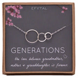 EFYTAL Generations Necklace for Grandma Gifts - Sterling Silver Mom Granddaughter Mothers Day Jewelry Birthday Gift