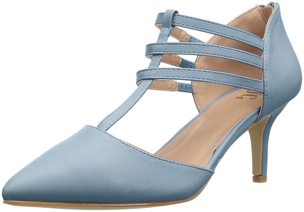 Brinley Co. Womens T-Strap Pointed Toe Matte Dress High Heel