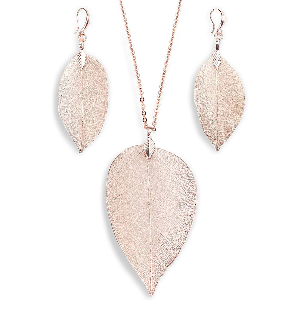 BOUTIQUELOVIN Filigree Long Leaf Pendant Dangle Necklace and Earring Jewelry Set Fashion Gifts for Women Girls