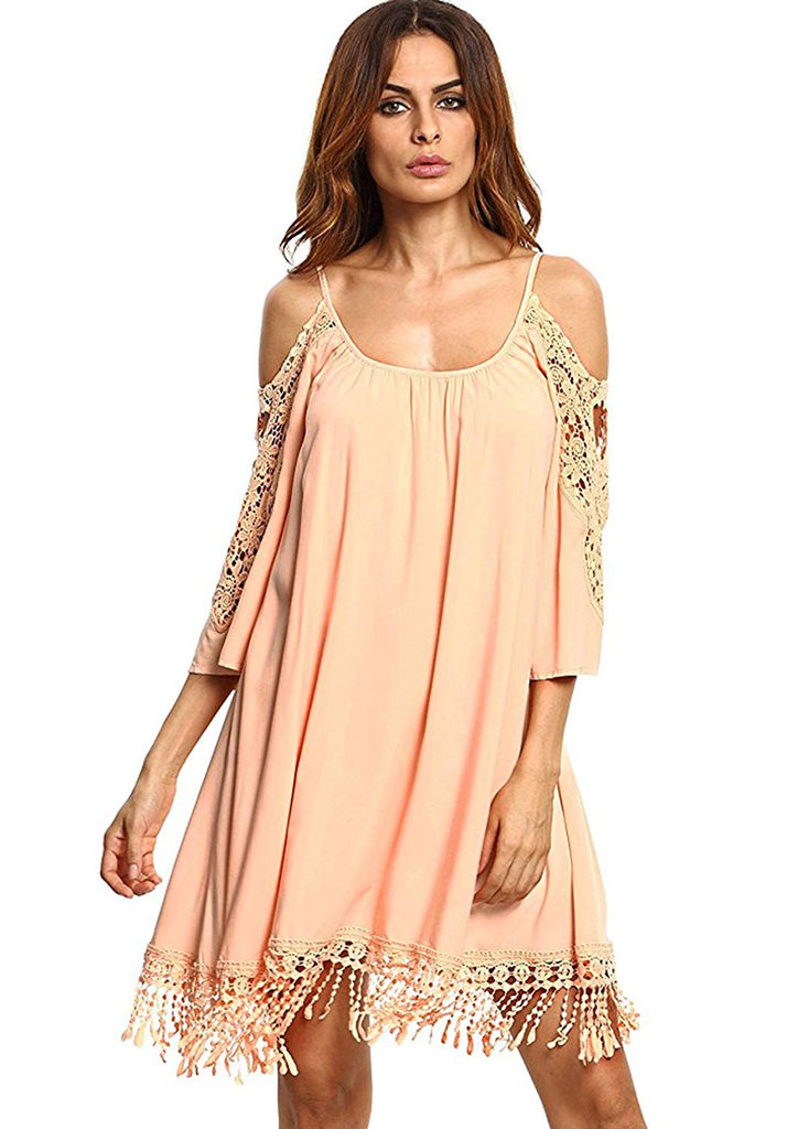 Milumia Women's Summer Cold Shoulder Crochet Lace Sleeve Loose Beach Dress