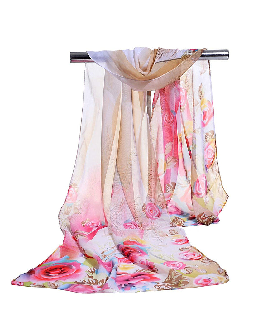E-Clover Lightweight Chiffon Sheer Scarves: Women's Pretty Rose Print Scarf