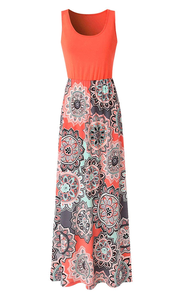 Zattcas Womens Summer Contrast Sleeveless Tank Top Floral Print Maxi Dress