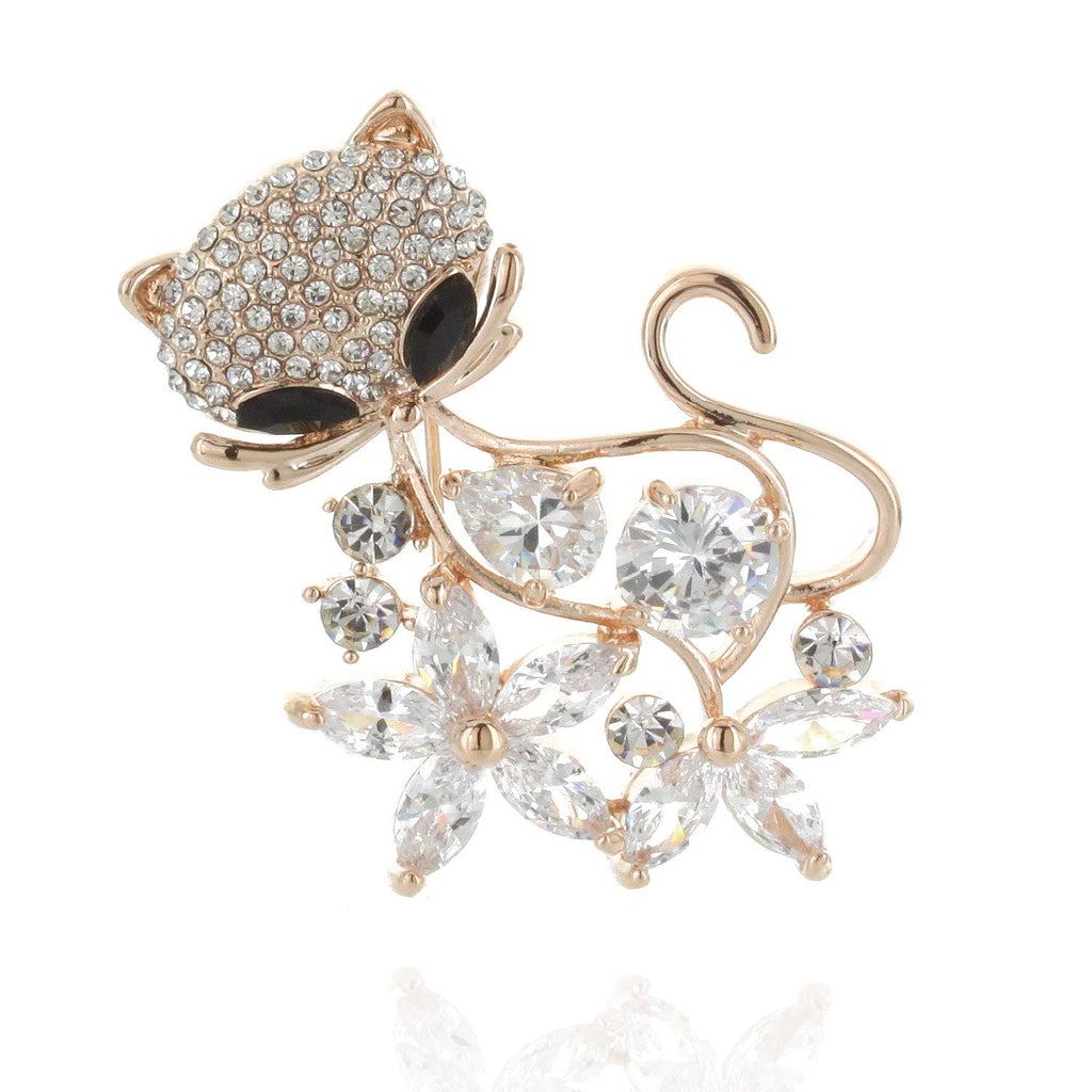 SP Sophia Collection Floral Kitty Cat Brooch Embellished with Rhinestones and Black Eyes Pin