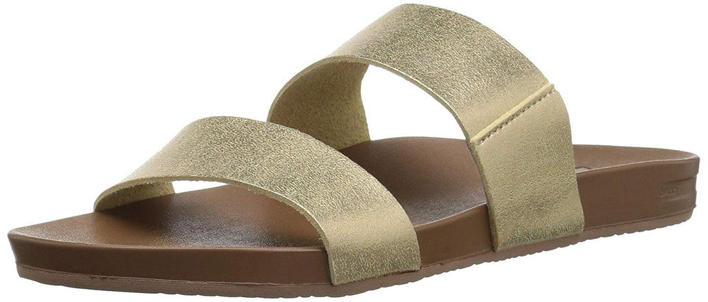 Reef Womens Sandals Vista | Vegan Leather Slides for Women With Cushion Bounce Footbed