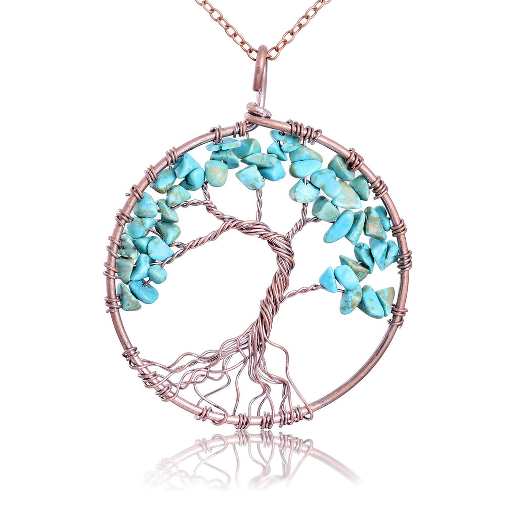 sedmart Tree of Life Pendant Amethyst Rose Crystal Necklace Gemstone Chakra Jewelry