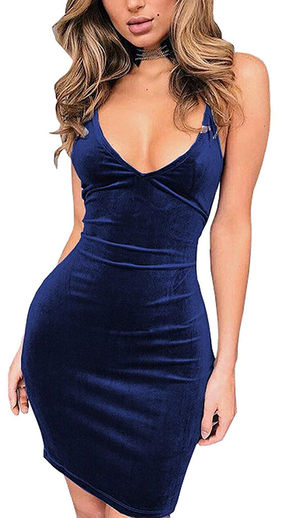 Doramode Womens Spaghetti Strap Bodycon Sleeveless Backless Velvet Sexy Short Club Dress