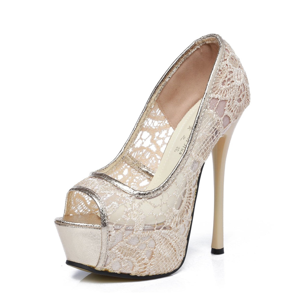 GATUXUS Lace Open Toe Women Platform High Heel Shoes Party Pumps Prom