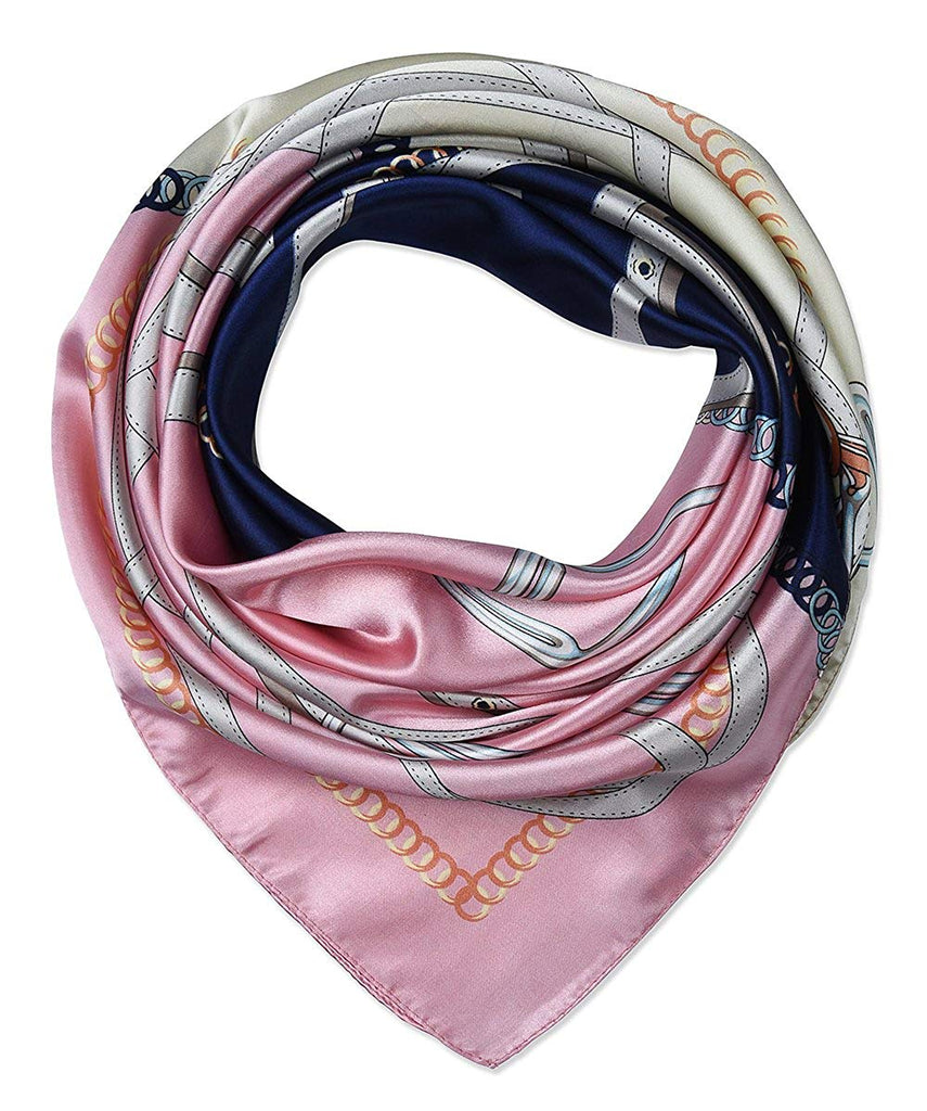 "corciova 35"" Large Women's Satin Square Silk Feeling Hair Scarf Wrap Headscarf Pink Oxford Blue Chains Belts Pattern"