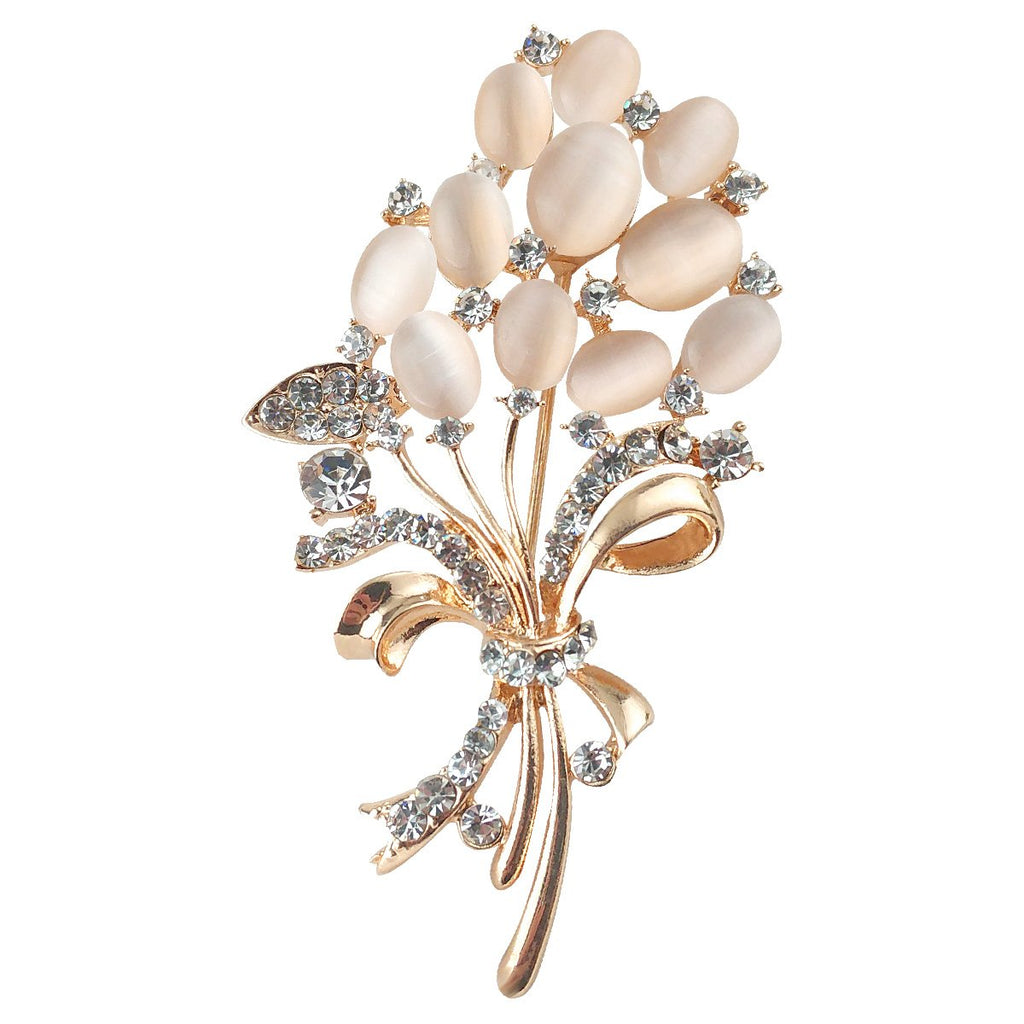 Merdia Floral Brooch Wedding Bouquets with Beautiful Created Cat's Eye for Elegant Women -Light Beige