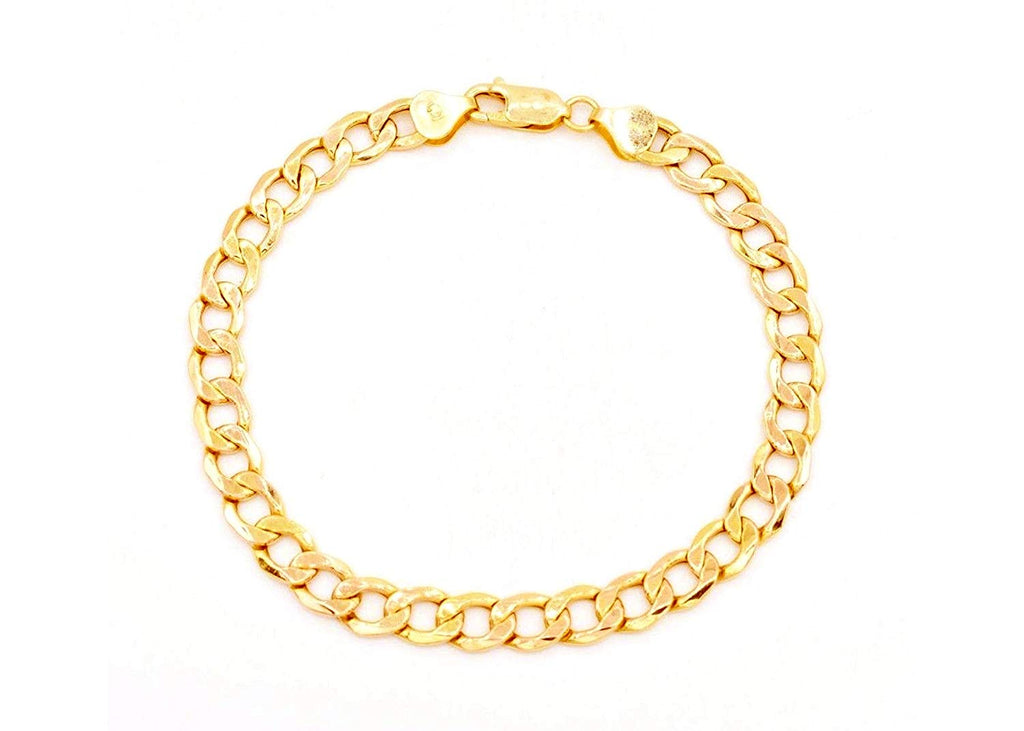 14K Solid Yellow Gold 5.5mm Thick Cuban Curb Link Chain Bracelet/Necklace- Lobster Claw Clasp