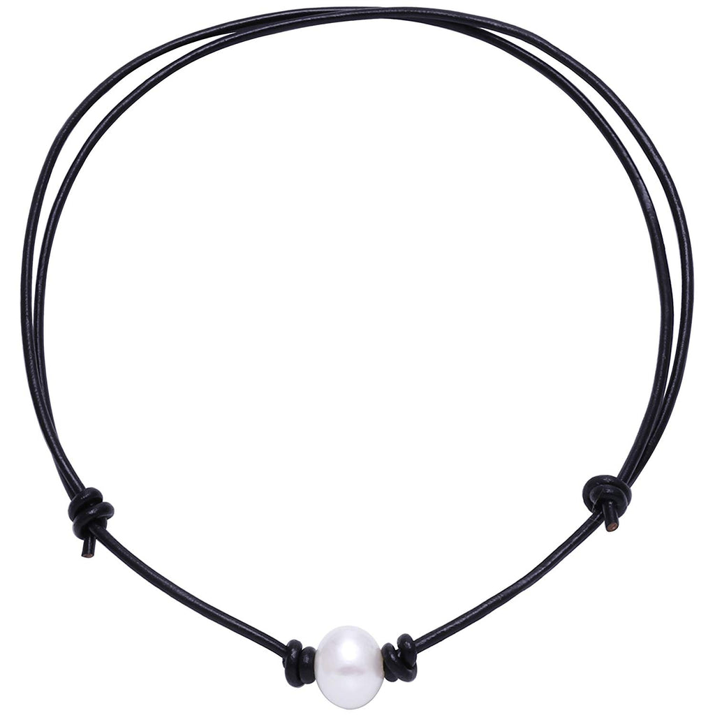 Aobei Single Cultured Freshwater Pearl Choker Necklace for Women Genuine Leather Jewelry Handmade