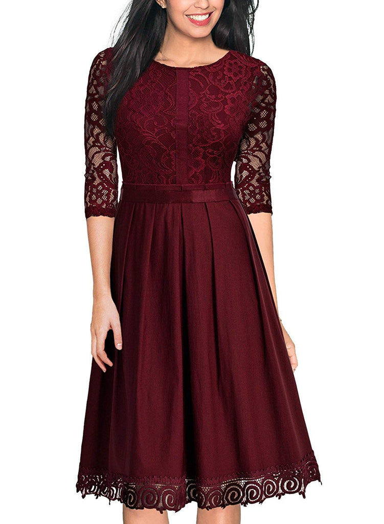 MissMay Women's Vintage Half Sleeve Floral Lace Cocktail Party Pleated Swing Dress