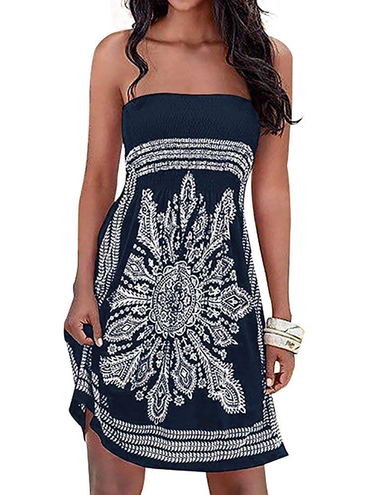 Inital Women's Strapleess Floral Print Bohemian Beach Dress Cover-up Dress