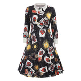 CharMma Women's Vintage Peter Pan Collar Planet Print A Line Flare Party Dress