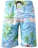 HENGAO Men's Hawaiian Swim Trunks Board Shorts with Lining
