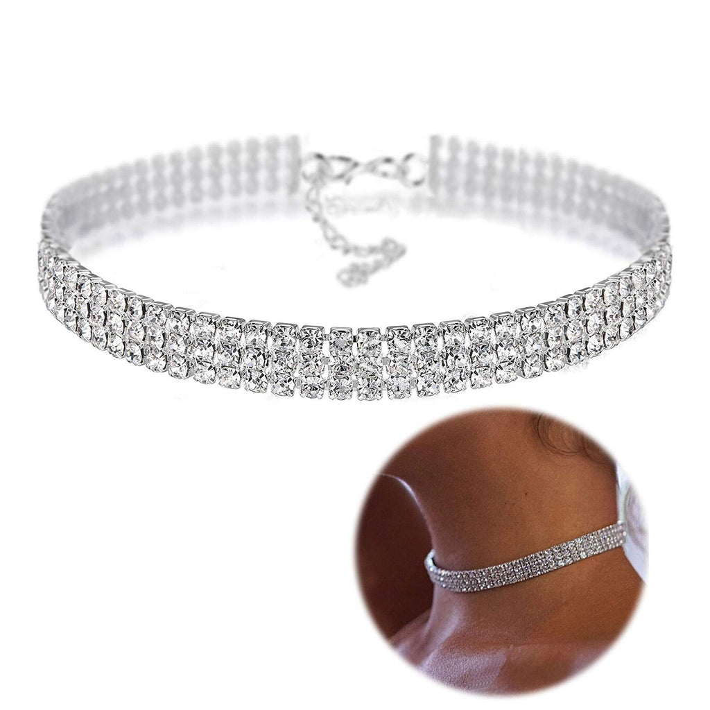 Zealmer Daycindy 3 Rows Clear Rhinestone Choker Necklace for Women
