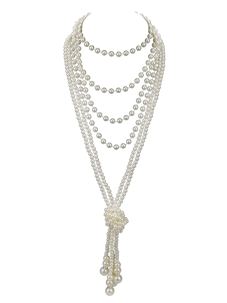 "Zivyes Fashion Faux Pearls 1920s Pearls Necklace Gatsby Accessories Cluster 59"" Long Necklace for Women"
