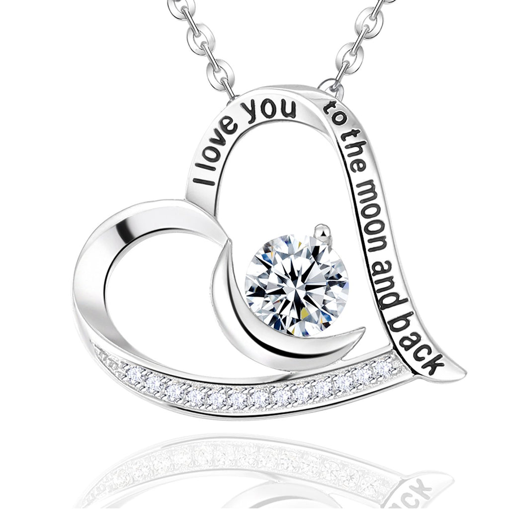 Elda&Co Fine Jewelry for Women April Birthstone Sterling Silver Necklace Simulated Diamond Aquamarine Necklace Birthday Mothers Day Gift For Her