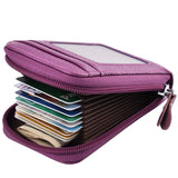 MaxGear RFID Credit Card Holder for Women Zip Leather Credit Card Wallet Credit Card Case Holder