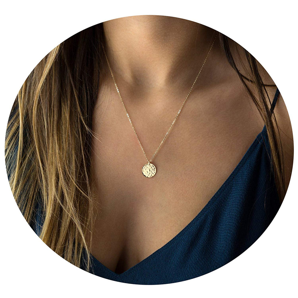 Befettly Moon Pendant Necklace 14k Gold Fill Dainty Hammered Moon Phase Gold Choker Simple Crescent Moon Full Moon Karma Circle Choker Necklace