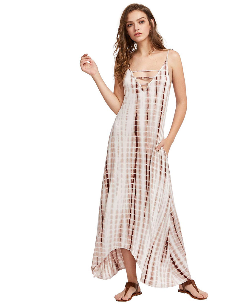MakeMeChic Casual Maxi Short Sleeve Split Tie Dye Long Dress