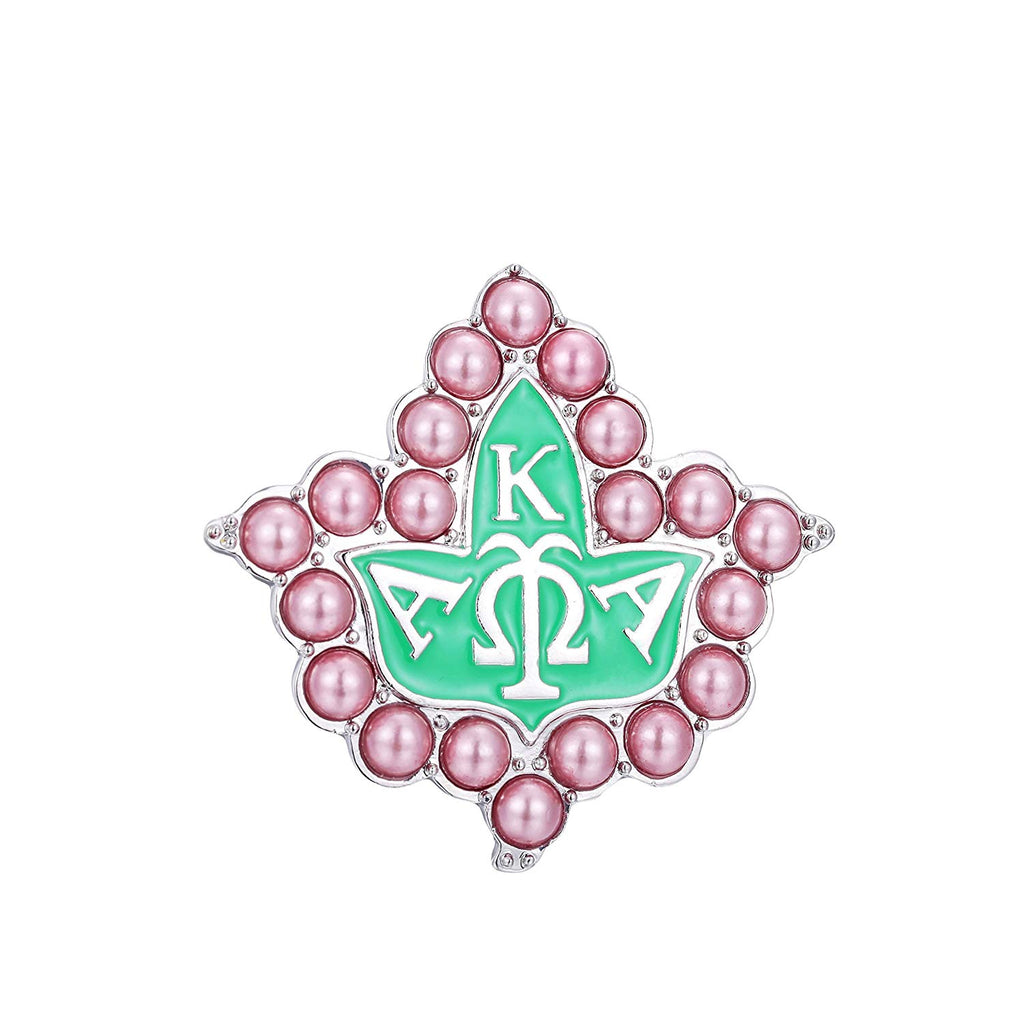 KINGSIN Vintage Pearl Crystal Brooch for Women AKA Sorority Graduation Gifts Alpha Kappa Alpha Paraphernalia Jewelry Leaf Pendant Necklace Chain