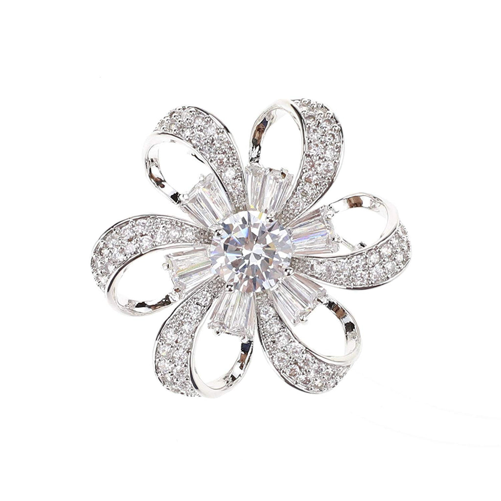 SHINYTIME Zircon Rhinestone Brooch Pin Crystal Fashion Clear Pins Women Wedding Brooches Silver Jewelry with Box Valentines Ideas for Her