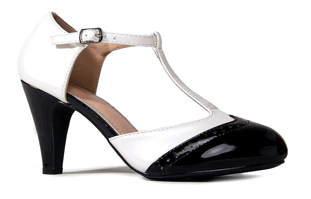 J. Adams Sherry Mary Jane - Retro Round Toe T Strap Low Kitten Heel Oxford Pumps