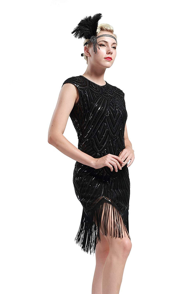 BABEYOND Women's Flapper Dresses 1920s Beaded Fringed Great Gatsby Dress