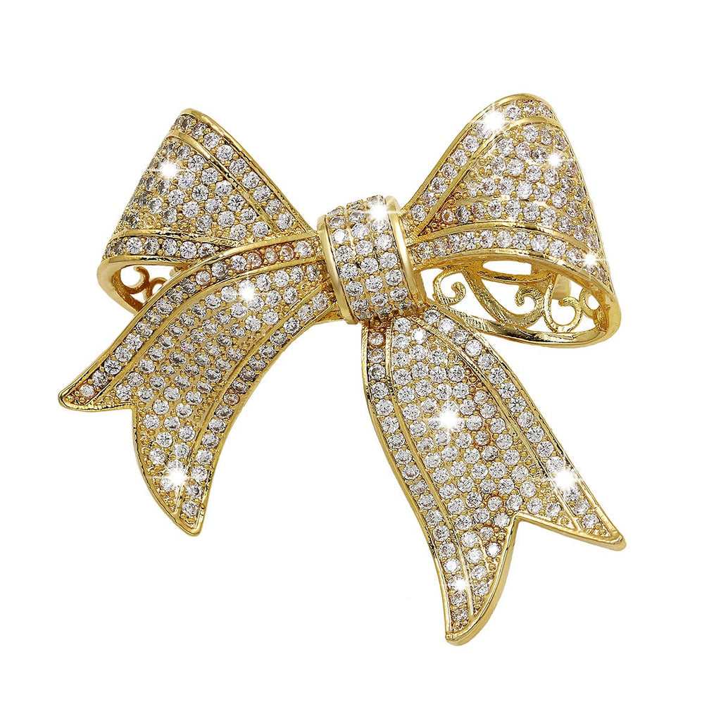 WeimanJewelry Real Gold Plated Cubic Zirconia Ribbon Bridal Bowknot Bow Brooch Pins or Pendant for Women