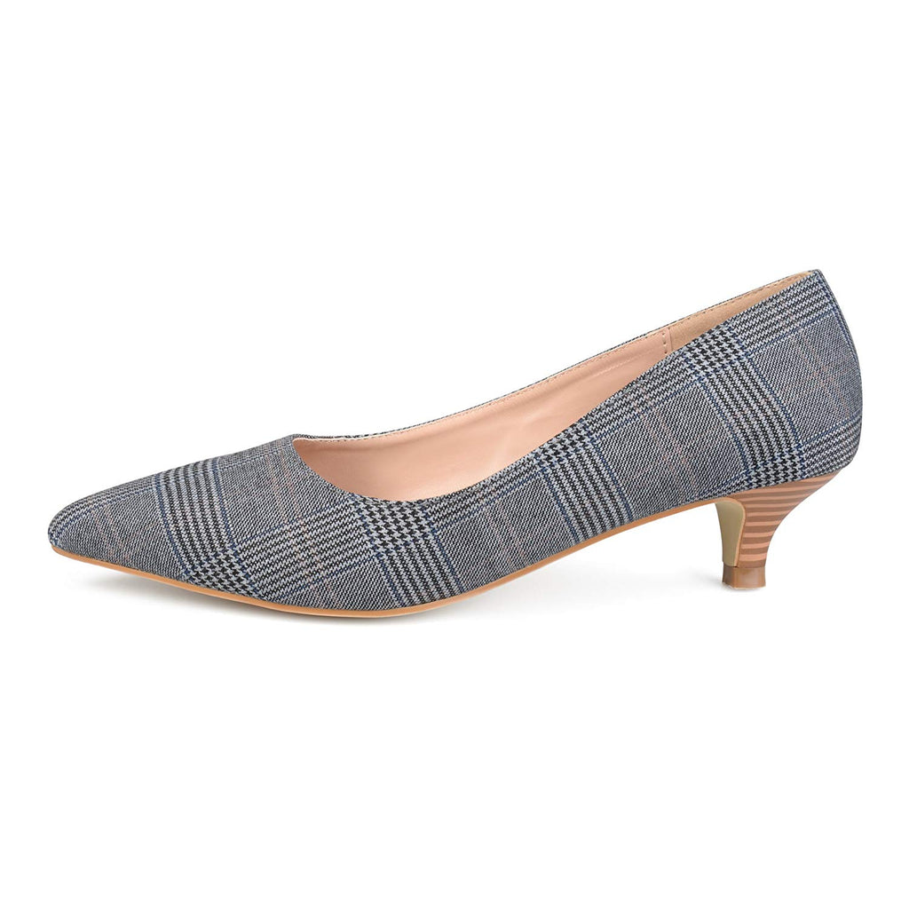 Brinley Co. Womens Pointed Toe Fabric Kitten Heels