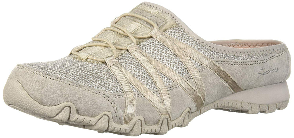 Skechers Women's Bikers-Fan Club-Sporty Slip-on Mesh-Bungee Mule, Relaxed Fit
