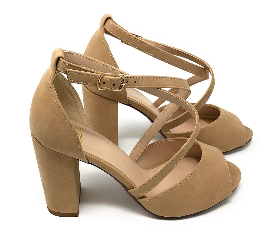Delicious Women's Henley Faux Suede Closed Toe T-Strap Platform High Heel