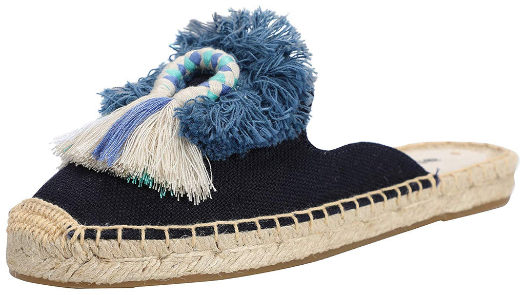 U-lite Women's Spring Summer Tassel & Fluffy Ball Canvas Mule Shoes Espadrilles Slides