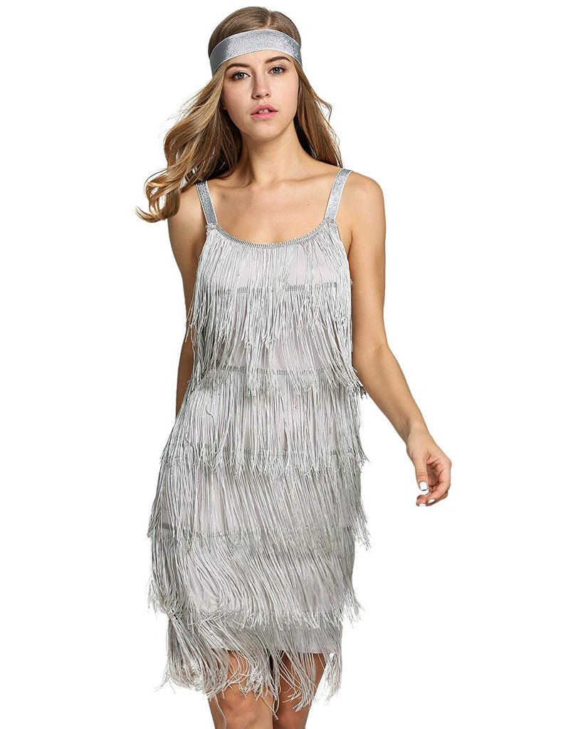 Bifast Women's Flapper Dresses Vintage 1920s V Neck Beaded Fringed Lace Tassels Hem Flapper Great Gatsby Dress