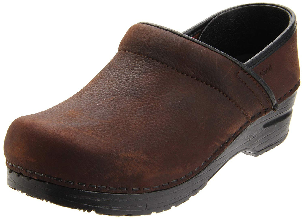 Sanita Women's Professional Oil Closed Leather Clog