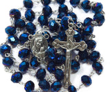 Nazareth Store Deep Blue Crystal Beads Rosary Catholic Necklace Holy Soil Medal Cross Crucifix Velvet Bag