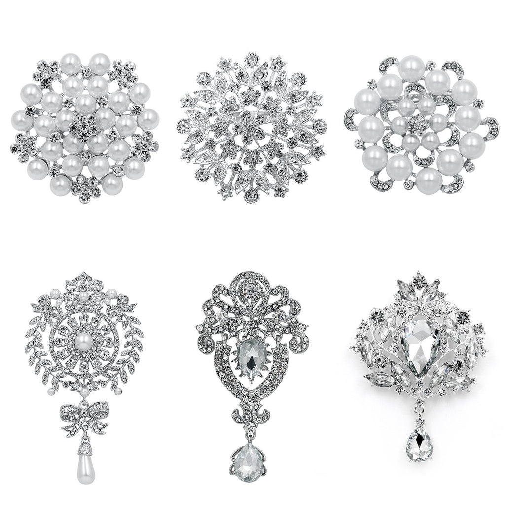 WeimanJewelry Silver/Gold Plated Assorted Crystal Rhinestones Brooch Pins Set for DIY Wedding Bouquets Kit