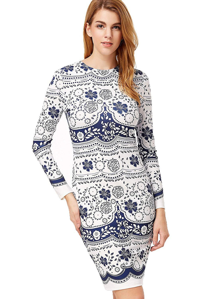Floerns Women's Porcelain Print Work Sheath Business Pencil Dress