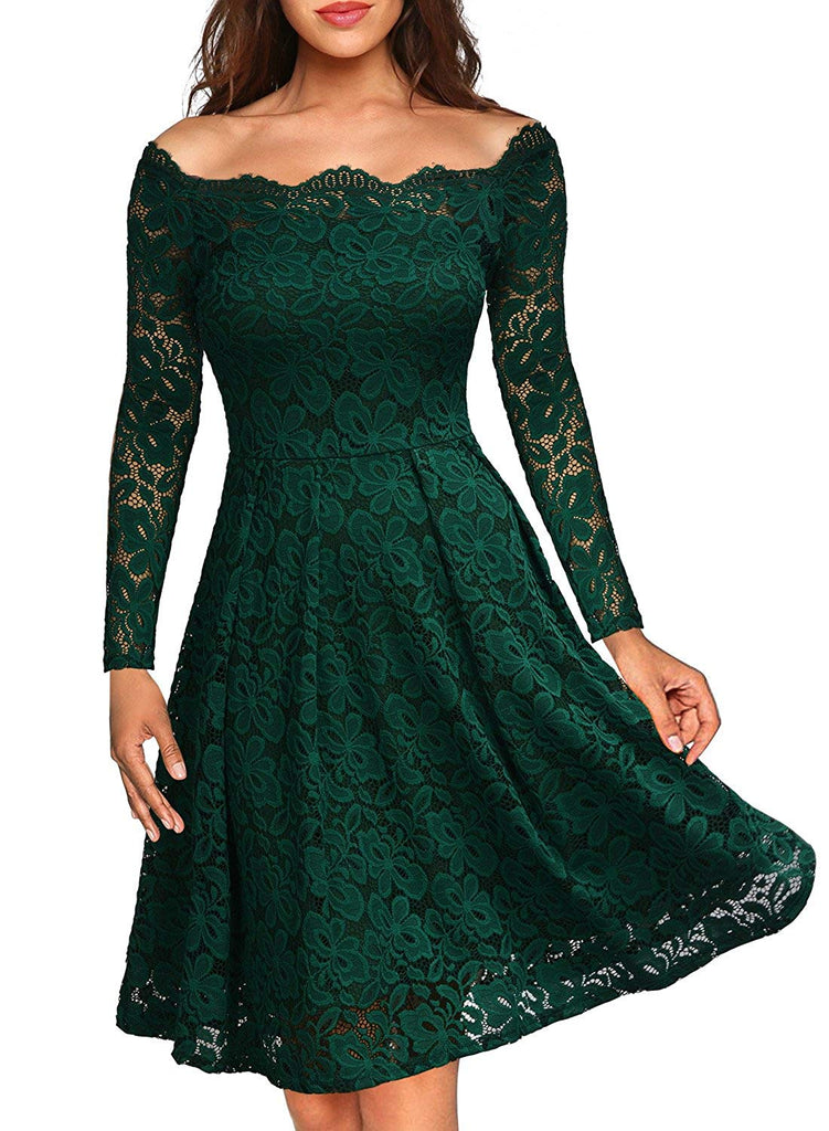 MissMay Women's Vintage Floral Lace Boat Neck Cocktail Formal Swing Dress