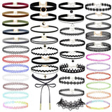 Prohouse 40PCS Gothic Womens Rubber Pendant Necklace Chain Double Line Henna Tattoo Choker Necklace Stretch Elastic Set (40PCS)