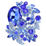 EVER FAITH Rhinestone Crystal Party Flower Leaf Vine Brooch