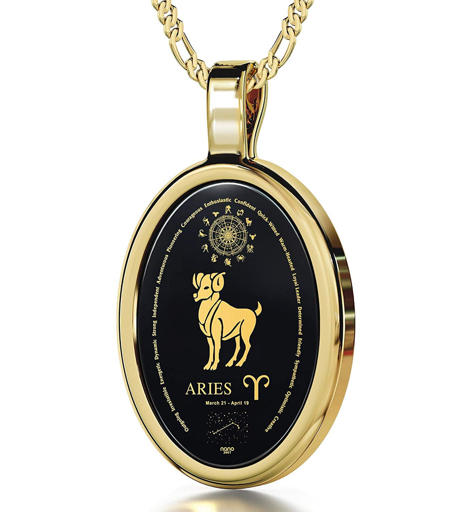 "Zodiac Pendant Aries Necklace Inscribed in 24k Gold on Onyx Stone, 18"" - NanoStyle Jewelry"