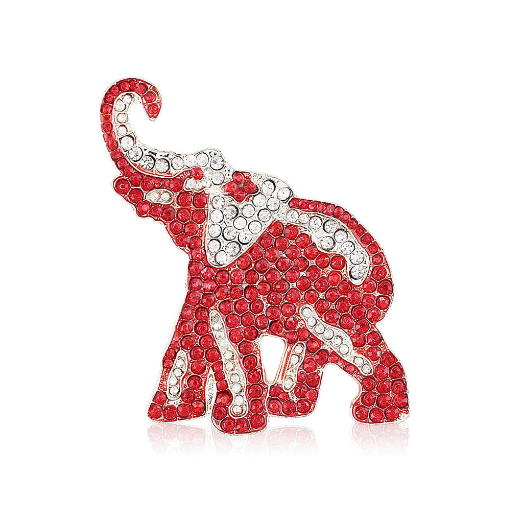Crimson and Crystal Rhinestone Elephant Brooch
