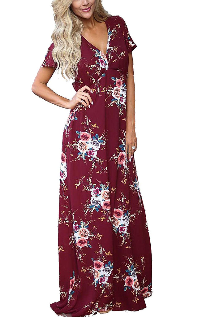 ECOWISH Womens Dresses Summer Casual V-Neck Floral Print Geometric Pattern Belted Dress