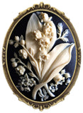 Yspace Flower Bouquet Brooch Pin Shield Decor Antique Brass Cameo Fashion Jewelry Pouch for Gift