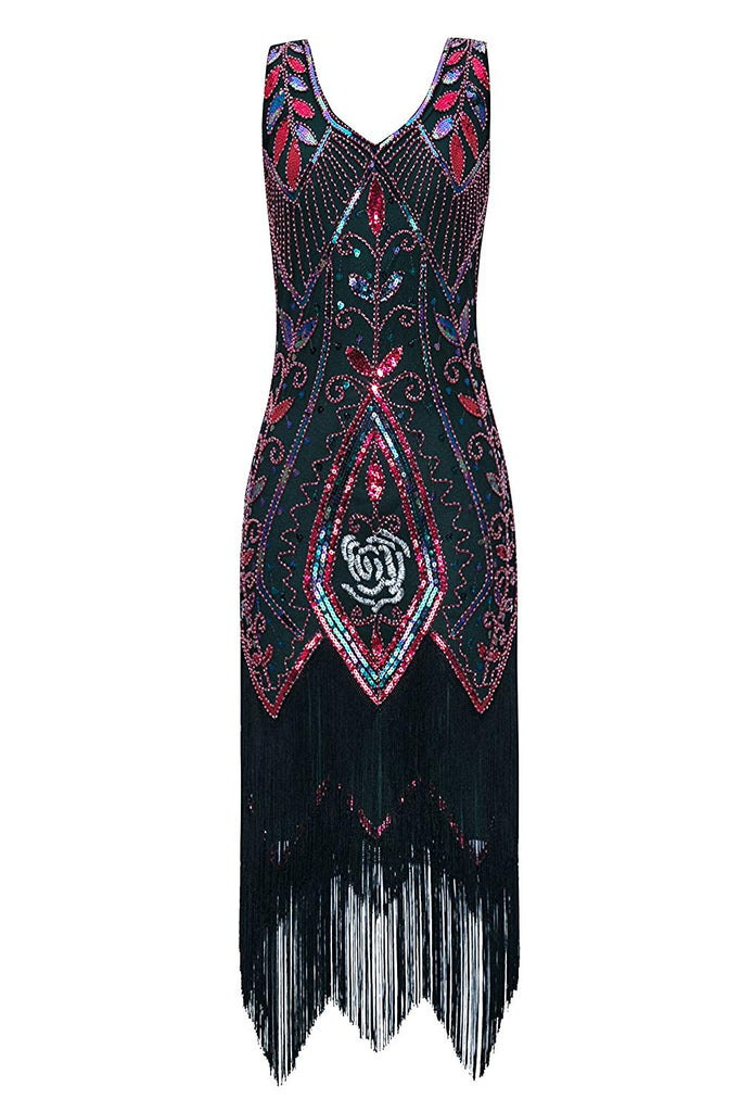 Metme Women's 1920s Vintage Flapper Fringe Beaded Great Gatsby Party Dress