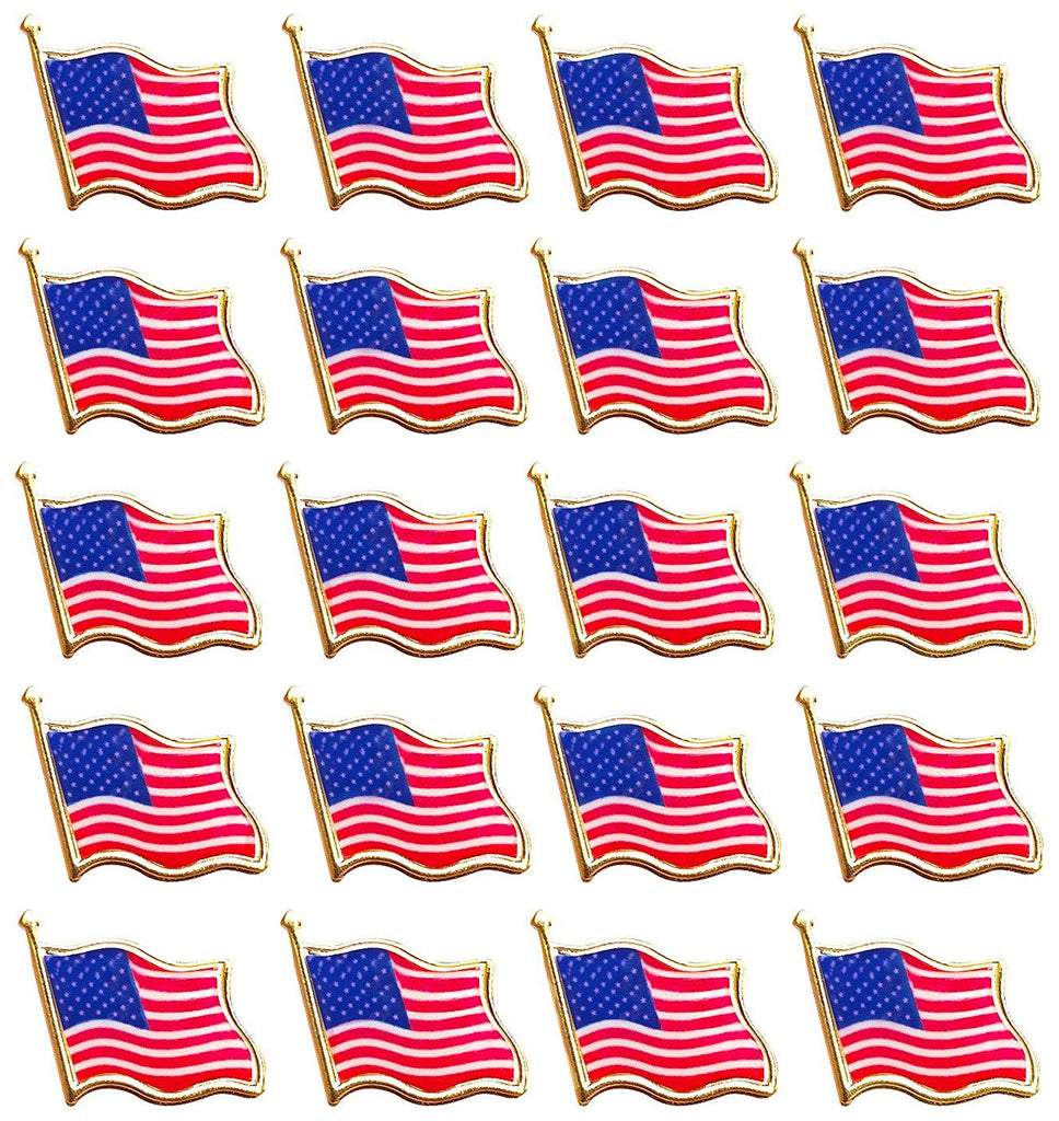 Bassion 10 Pcs American Flag Pins Waving United States Patriotic USA Lapel Pin